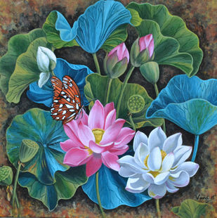 Lotus Pond (7) by Vani Chawla, Impressionism Painting, Acrylic on Canvas, Green color