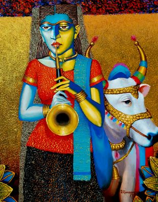 Cow with girl by Dayanand Kamakar, Expressionism Painting, Oil & Acrylic on Canvas, Brown color