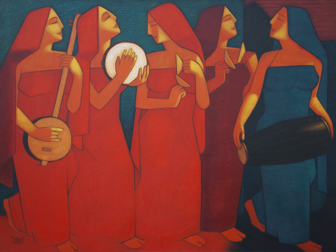 Bhajan by Dipak Asole, Expressionism Painting, Acrylic on Canvas, Brown color