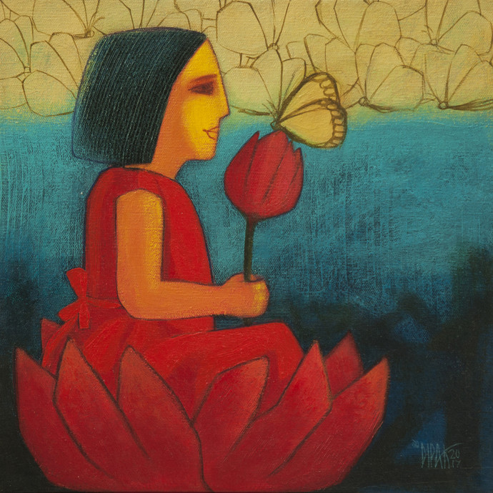 Save Joy by Dipak Asole, Expressionism Painting, Acrylic on Canvas, Green color