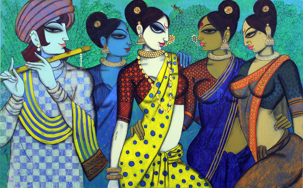 sakhi (friends) by Varsha Kharatmal, Expressionism Painting, Acrylic & Graphite on Canvas, Green color