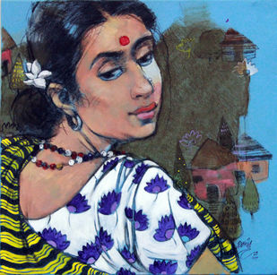 face by Ramchandra Kharatmal, Expressionism Painting, Acrylic & Graphite on Canvas, Blue color