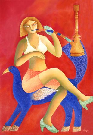 Nayka by Nitai Das, Expressionism Painting, Acrylic on Canvas, Red color