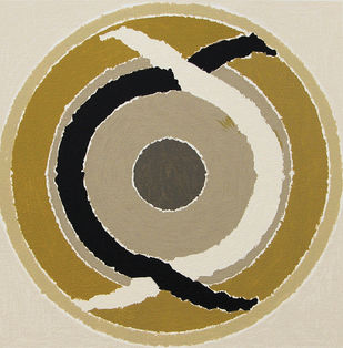 Duality by S H Raza, Geometrical Printmaking, Serigraph on Paper, Beige color