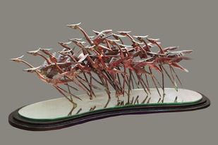 BONHAMI by Biplab Sarkar, Art Deco Sculpture   3D, Metal, Gray color