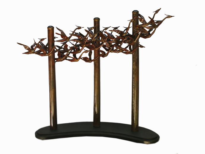 VOYAGE I by Biplab Sarkar, Art Deco Sculpture | 3D, Metal, White color