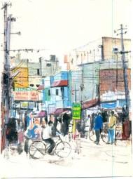 bandla street by Kiran Kumari B, Impressionism Painting, Oil on Paper, Gray color