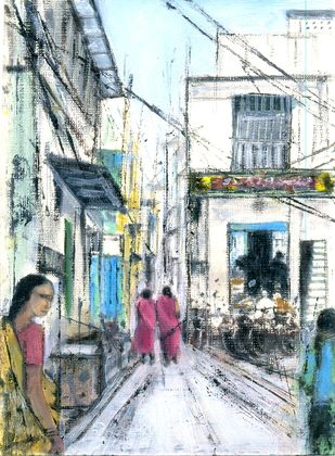 bazar street by Kiran Kumari B, Impressionism Painting, Oil on Paper, Gray color