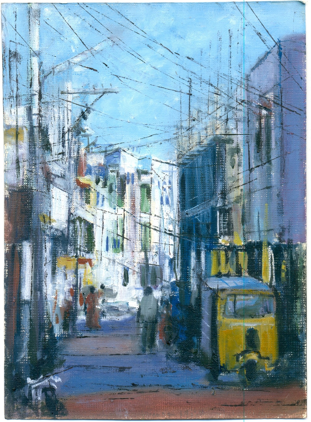 Bhavani Nagar by Kiran Kumari B, Impressionism Painting, Oil on Paper, Cyan color