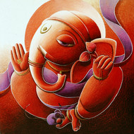Ganesha by Dhananjay Mukherjee, Traditional Painting, Acrylic on Canvas, Brown color