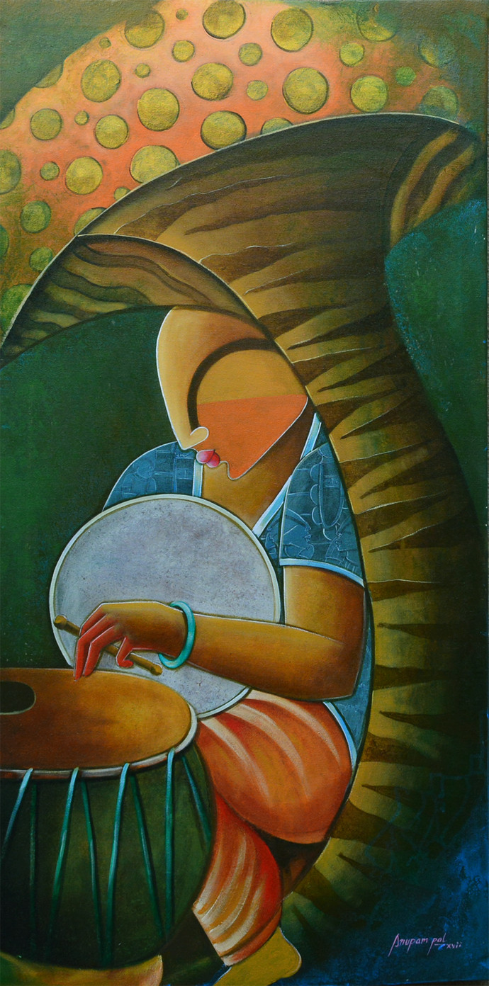rhytham devine by anupam pal, Decorative Painting, Acrylic on Canvas, Green color