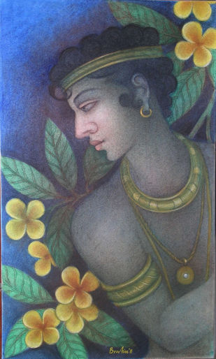 krishna by Bratin Khan, Traditional Painting, Tempera on Canvas, Gray color