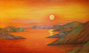 Untitled by Bratin Khan, Impressionism Painting, Tempera on Paper, Orange color