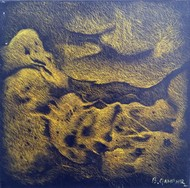 Untitled-8 by Baldev Gambhir, Abstract Painting, Oil on Canvas, Brown color