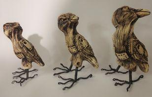 Siblings by Christina Banerjee, Art Deco Sculpture   3D, Mixed Media, Brown color