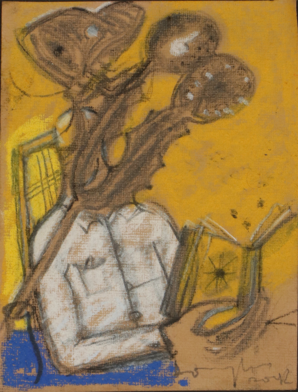 Untitled by C Douglas, Expressionism Drawing, Mixed Media on Paper, Brown color