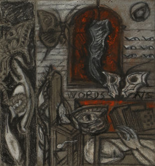 Untitled by C Douglas, Expressionism Drawing, Mixed Media on Paper, Green color