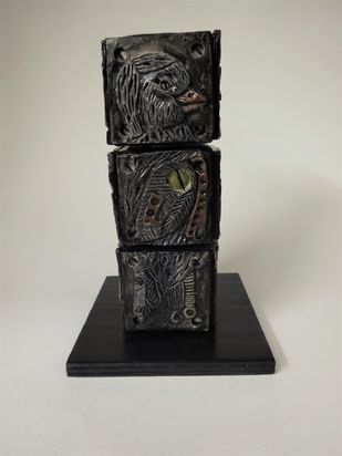 Totem Bird II by Christina Banerjee, Art Deco Sculpture   3D, Mixed Media, Gray color