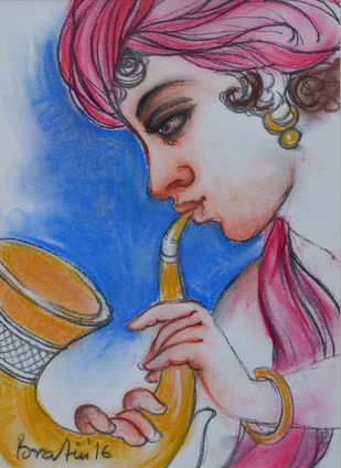 Untitled by Bratin Khan, Traditional Painting, Pastel on Paper, Brown color