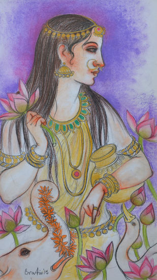Untitled by Bratin Khan, Expressionism Painting, Pastel on Paper, Brown color