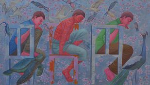 Human in Nature by Partha Mondal, Expressionism Painting, Oil & Acrylic on Canvas, Brown color