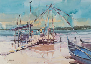 Untitled by Madhu V, Impressionism Painting, Watercolor on Paper, Cyan color