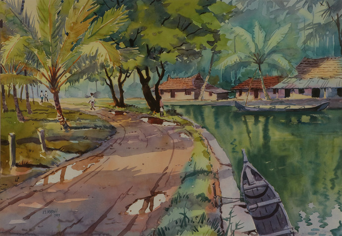 Untitled by Madhu V, Impressionism Painting, Watercolor on Paper, Green color