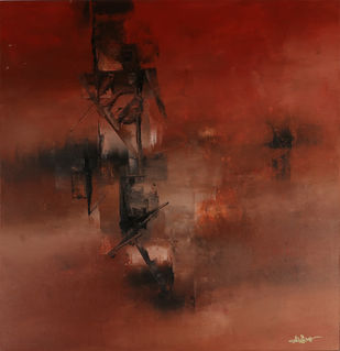 Untitled by Raju Durshettiwar, Abstract Painting, Acrylic on Canvas, Brown color