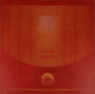 Untitled by Hanumantha Rao Devulapalli, Expressionism Painting, Acrylic on Canvas, Red color