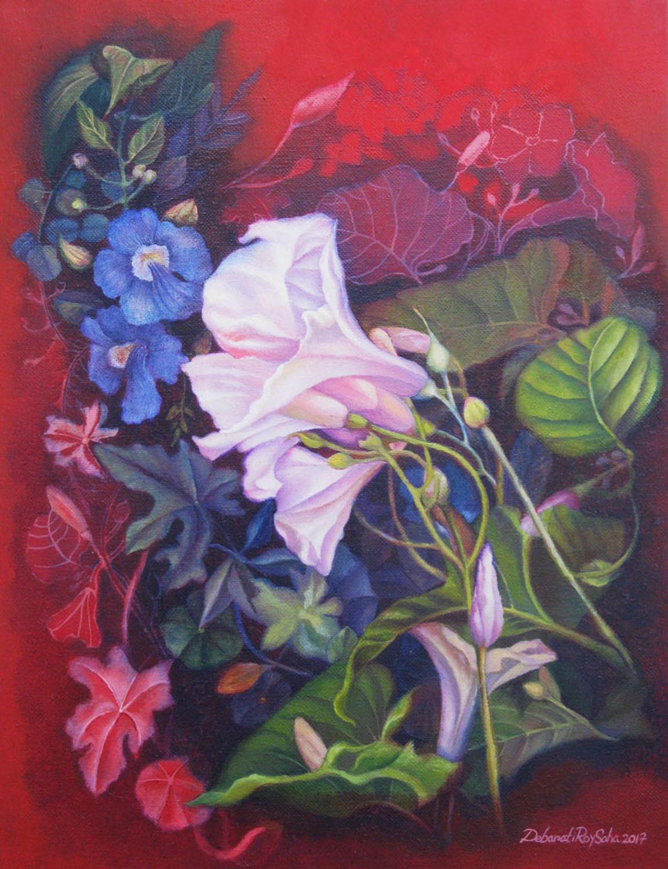 Kolmilota by Debarati Roy Saha, Impressionism Painting, Oil on Canvas, Blue color