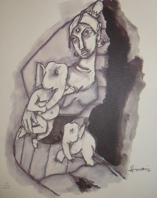 Ast Vinayak series by M F Husain, Expressionism Painting, Lithography on Paper, Brown color