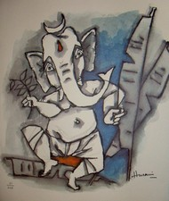 Untitled by M F Husain, Traditional Painting, Lithography on Paper, Brown color