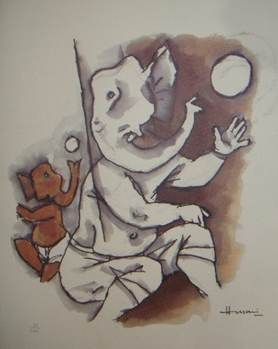 Untitled by M F Husain, Expressionism Painting, Lithography on Paper, Brown color