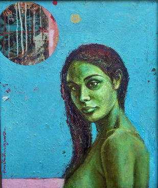 Romance in Blue by Harisadhan Dey, Expressionism Painting, Oil on Canvas, Cyan color