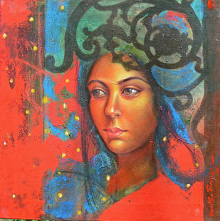 Moonlight by Harisadhan Dey, Expressionism Painting, Oil on Canvas, Brown color