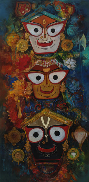 Jai jaganaath by Rajeshwar Nyalapalli, Traditional Painting, Acrylic on Canvas, Brown color