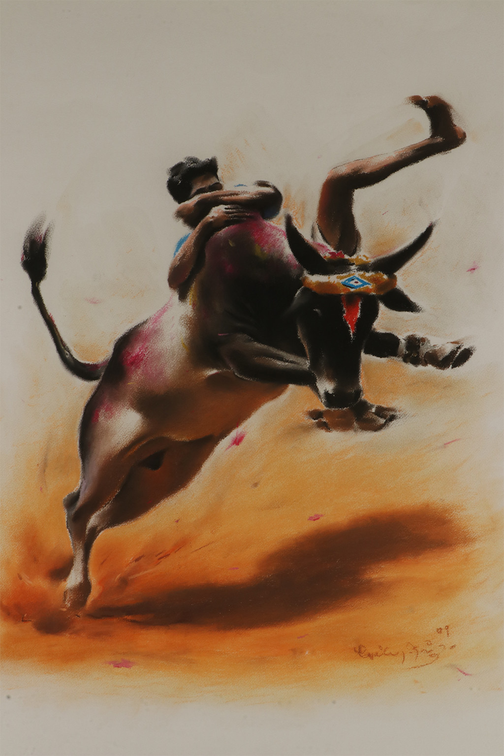 Untitled by Yuvan Bothi Sathuvar, Expressionism Painting, Mixed Media on Paper, Brown color