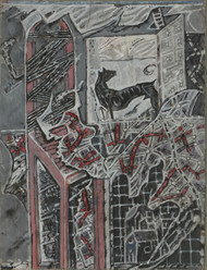 Untitled by C Douglas, Illustration Drawing, Mixed Media on Paper, Gray color