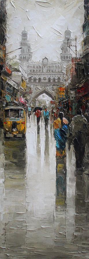 Charminar wet st by Iruvan Karunakaran, Impressionism Painting, Acrylic on Canvas, Gray color