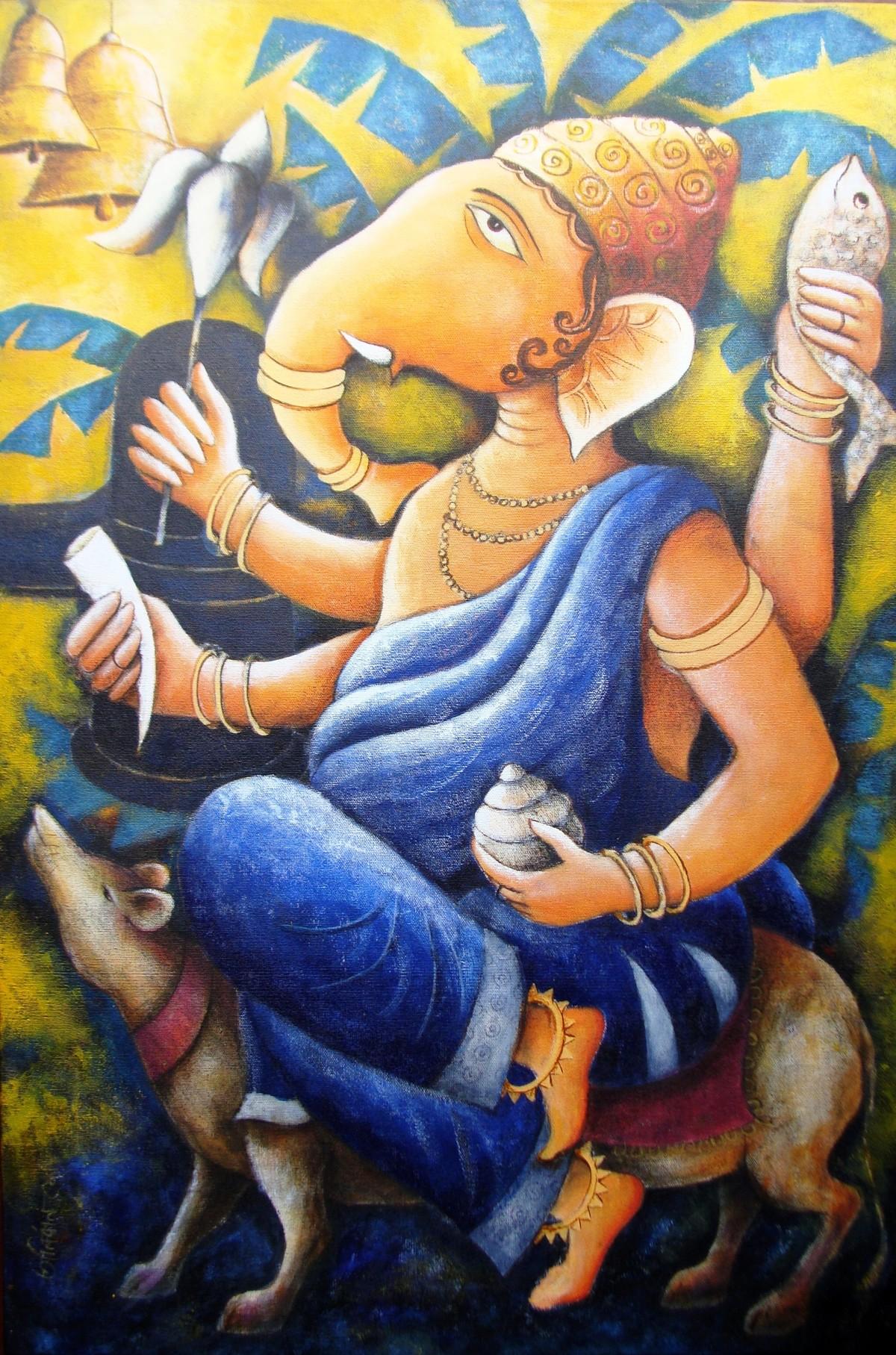 '' LORD GANAPATI '' Digital Print by Anirban Seth,Traditional