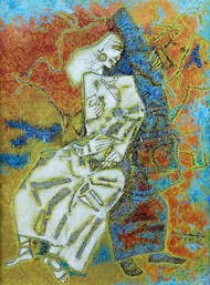 untitled by A P Santhanaraj, Expressionism Painting, Acrylic & Ink on Paper, Pink color