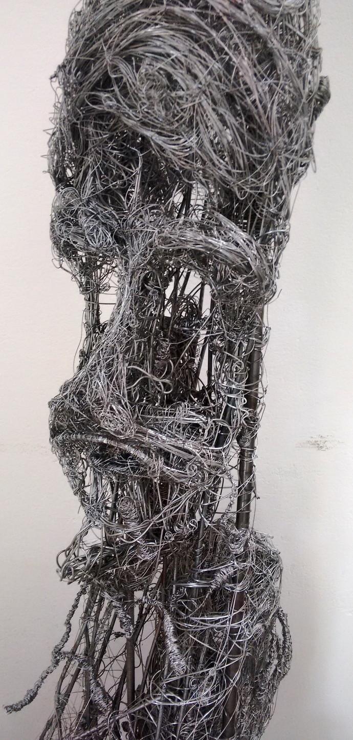 wire portrait by Roopa Kangovi, Art Deco Sculpture | 3D, Found Object, Mine Shaft color