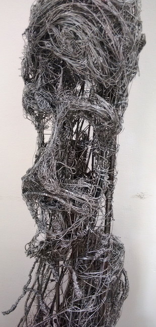 wire portrait by Roopa Kangovi, Art Deco Sculpture   3D, Found Object, Mine Shaft color