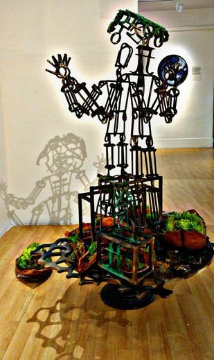 traces of green trapped in an industrial scrap. by Roopa Kangovi, Art Deco Sculpture   3D, Found Object, Rangoon Green color