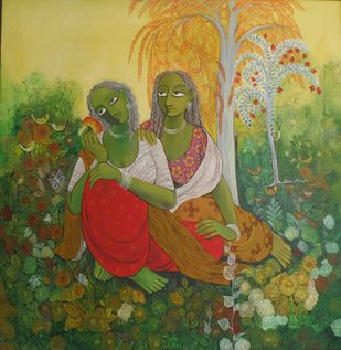 Bliss by Jayshree P Malimath, Expressionism Painting, Acrylic on Canvas, Green color