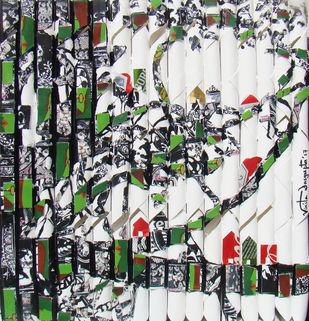 UNTITLED by Vinita Dasgupta, Pop Art Printmaking, Mixed Media on Board, Gray color