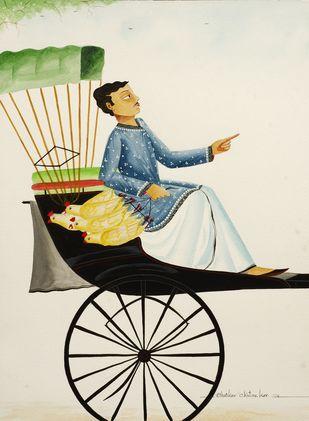 Babu in a rickshaw by Bhaskar Chitrakar, Folk Painting, Natural colours on paper, Beige color