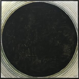Untitled by S H Raza, Geometrical Printmaking, Lithography on Paper, Gray color