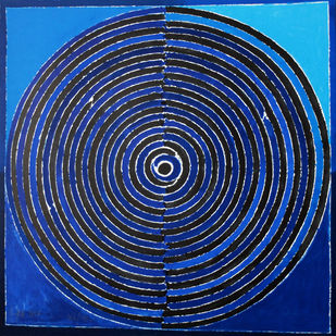 Untitled by S H Raza, Geometrical Printmaking, Lithography on Paper, Blue color