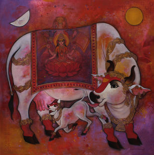 Surabhi with Laxmi by Rajeshwar Nyalapalli, Traditional Painting, Acrylic on Canvas, Brown color